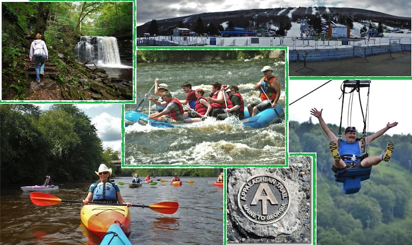 Some of the great outdoor activities near us. Hiking. Kayaking. Whitewater trips. zip lining. Skiing. tubing.