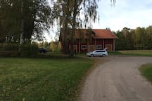 This is the stable, which is opposite to the farmhouse. We usually keep a few horses over the summer and you will see us taking care of them or they will graze around the farmhouse, come over and pat them if you like.