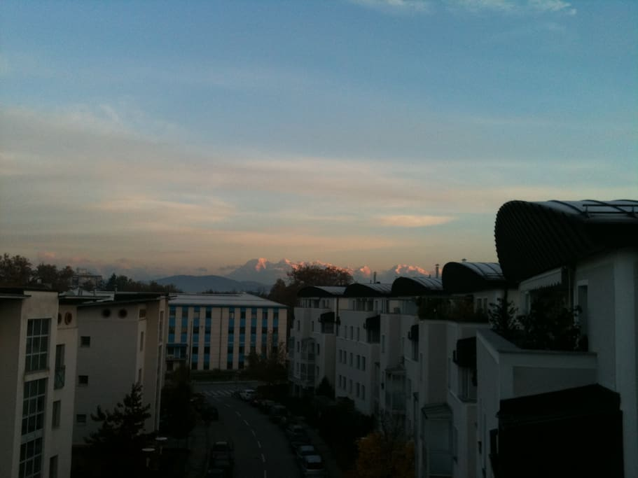 The view of the mountains from the terrace.