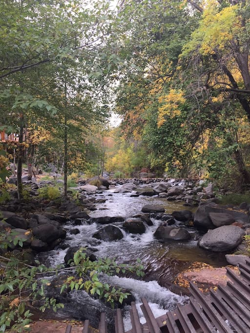 Scenic oak creek crossing on the way to the cabin