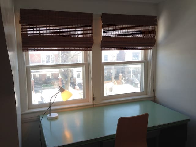 Beautiful east facing windows with blinds.