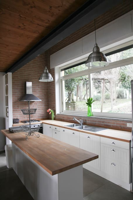 Airy open space kitchen overlooking a world of trees