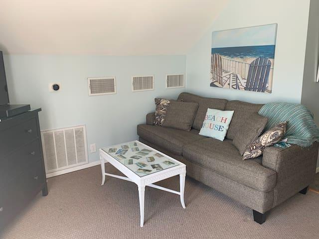 Open concept living area across from  queen bed. Comfy queen size sofa sleeper.