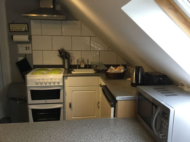 Kitchen including microwave, cooker, and refrigerator