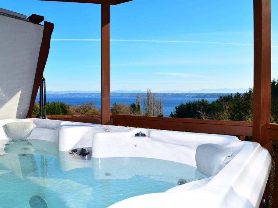 Hot tub overlooking the ocean (Puget Sound)