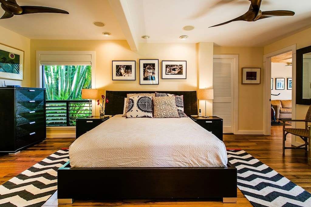 Master Bedroom. On the right is the fitness room and to the right is the master bath.