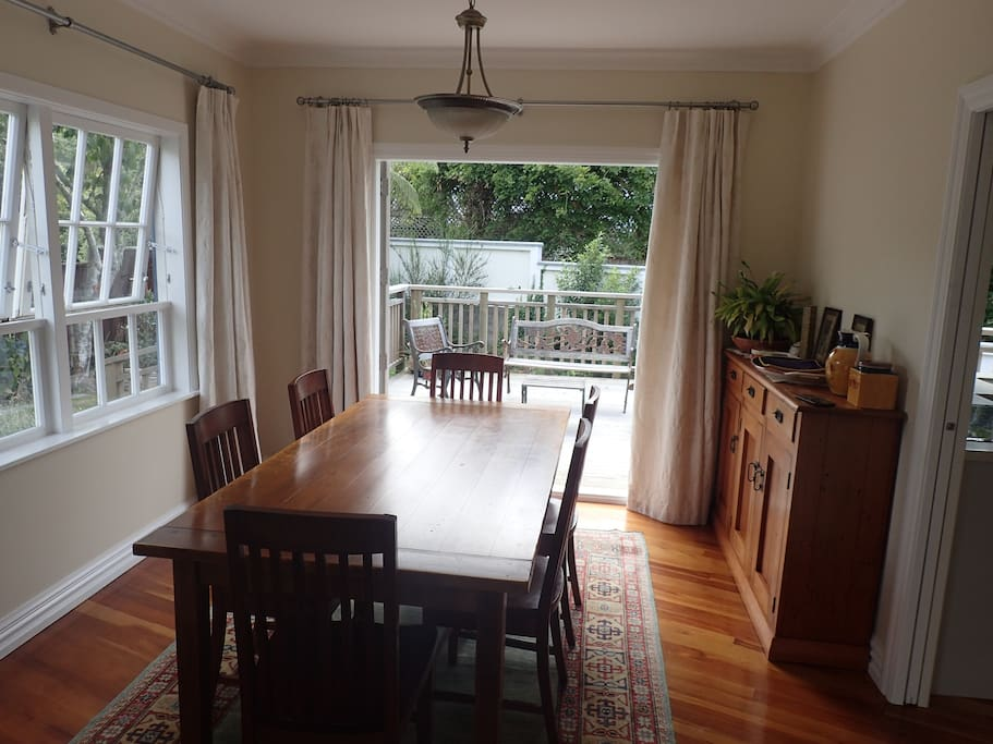 Dining area opens to sunny deck