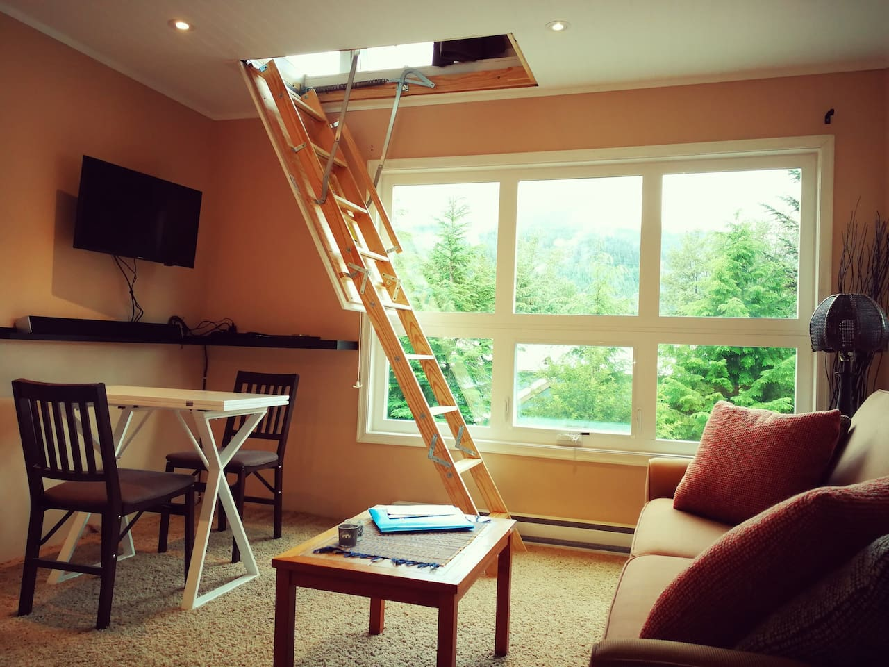 Living room with the loft ladder down.  The ladder can be folded all the way up.