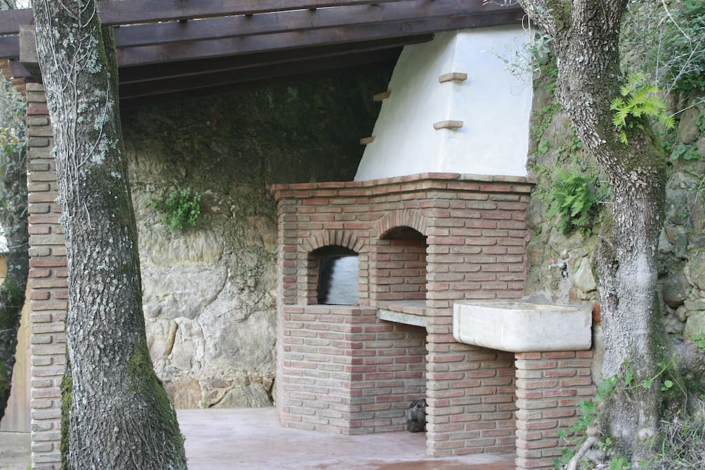 Wood oven and large barbecue