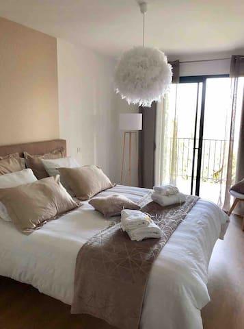 Chambre2 Romantique de 16m2 avec lit Queen Size 160/200, avec parquet et dressing . Décoration version hivernale