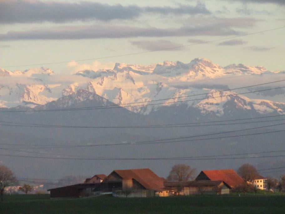 View from the House to the Swiss Alps