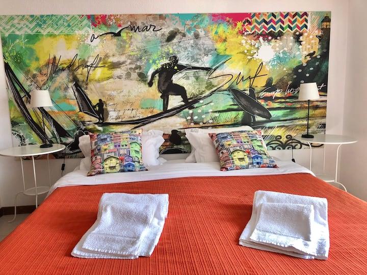 Doppelbett oder zwei Einzelbetten-Standard-Gemeinsames Badezimmer-Balkon-Guincho Lovely room