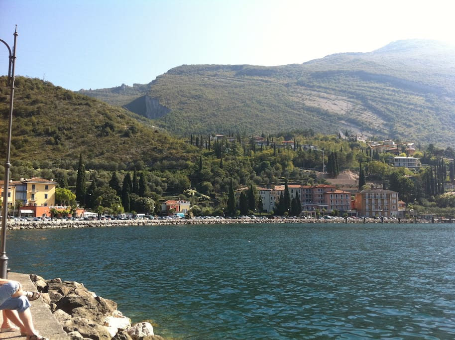 View of Le Busatte from the lakeside