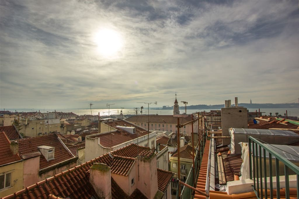 View over Lisbon rooftops till the Tagus River