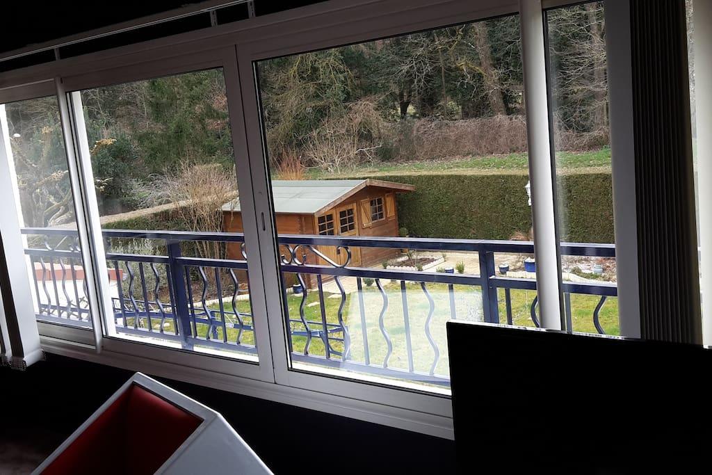 Jolie vue sur le jardin et bois. cadre calme et verdoyant.