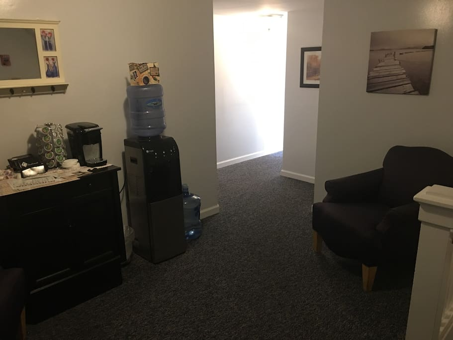 Common area with coffee and water available