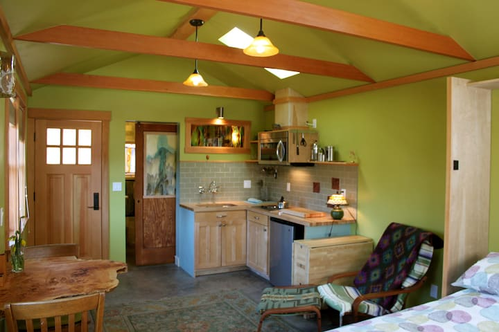 Vaulted ceilings give the room a spacious feel.