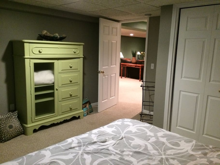 Large bedroom with queen size bed and plenty of closet space