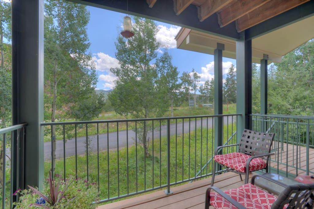 Pirvate balcony w mountain views at studio condo vacation rental at Purgatory Resort in Durango Colorado