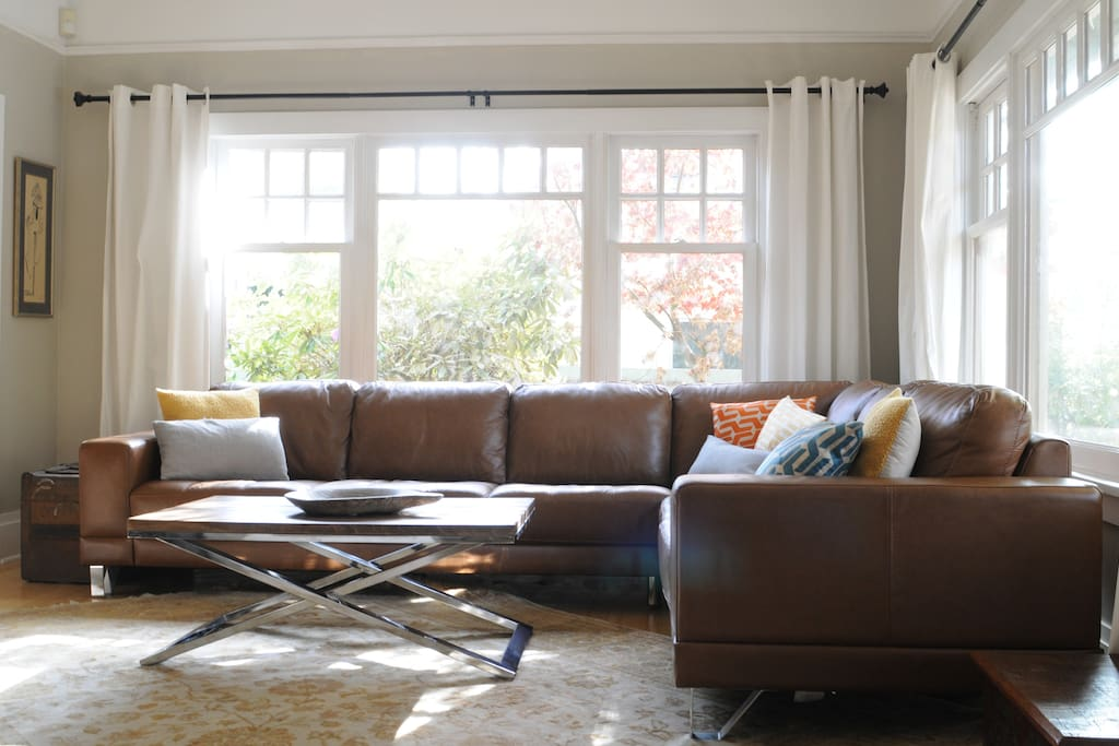 New Leather Sectional spring 2016; perfect for relaxing after a day at the beach