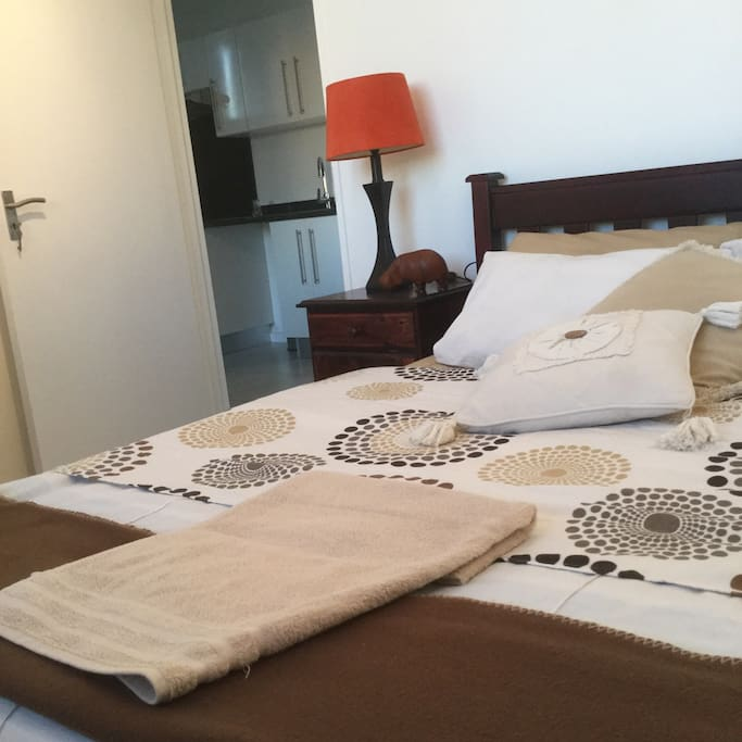 Double bed with bedroom view over Whk. Large built in cupboard