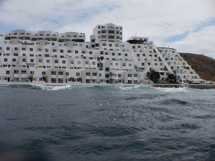 View of the building from the ocean