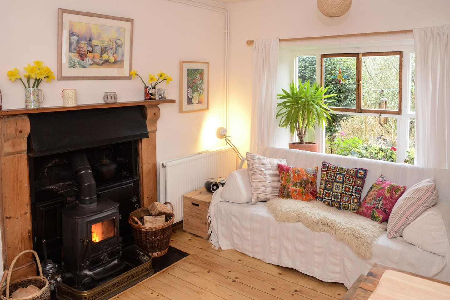 Newly decorated kitchen diner/sitting room with cosy woodburner stove!