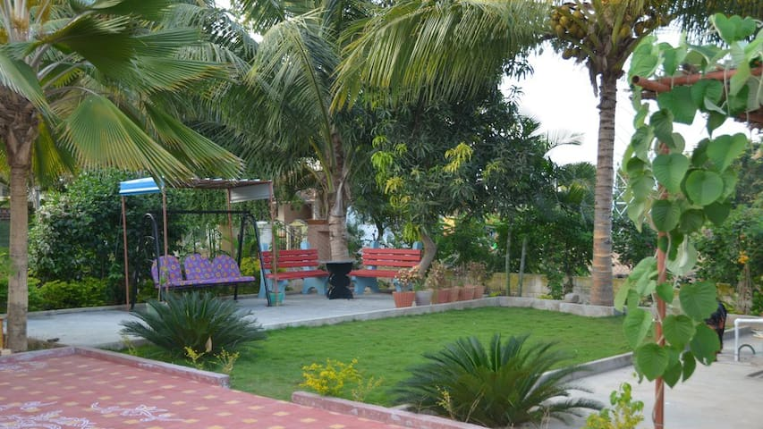 Well maintained garden with swing