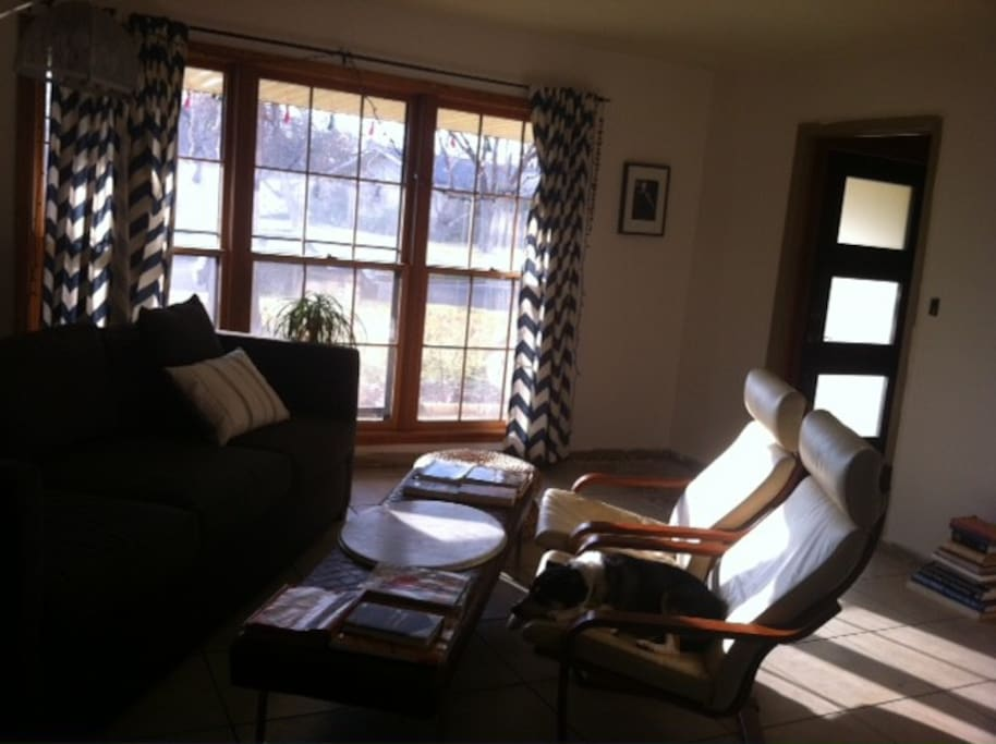 A cozy front room with a peaceful view of the sycamores that shade the front of the home.
