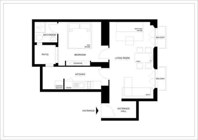 Plano de distribución del piso