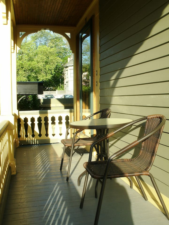We have a warm sunny spot in the morning for coffee and a nice place to relax and people watch any time.
