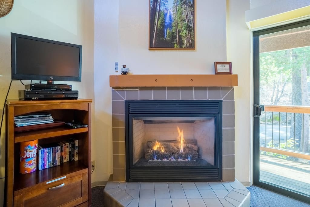 Living area has gas fireplace, satellite TV, DVD player and family games for your enjoyment.