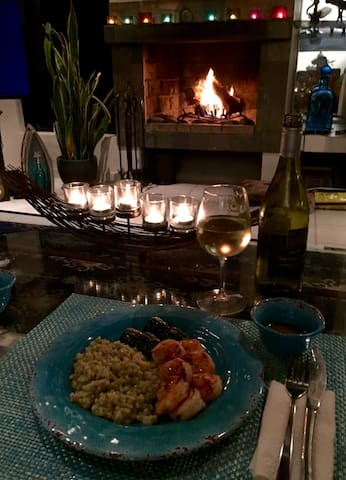 If you cook then dinner at home in villa looks like this when you get the real wood fireplace going at night.