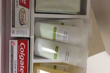 Amenities- soap, shampoo and conditioner, lotion, toothpaste,