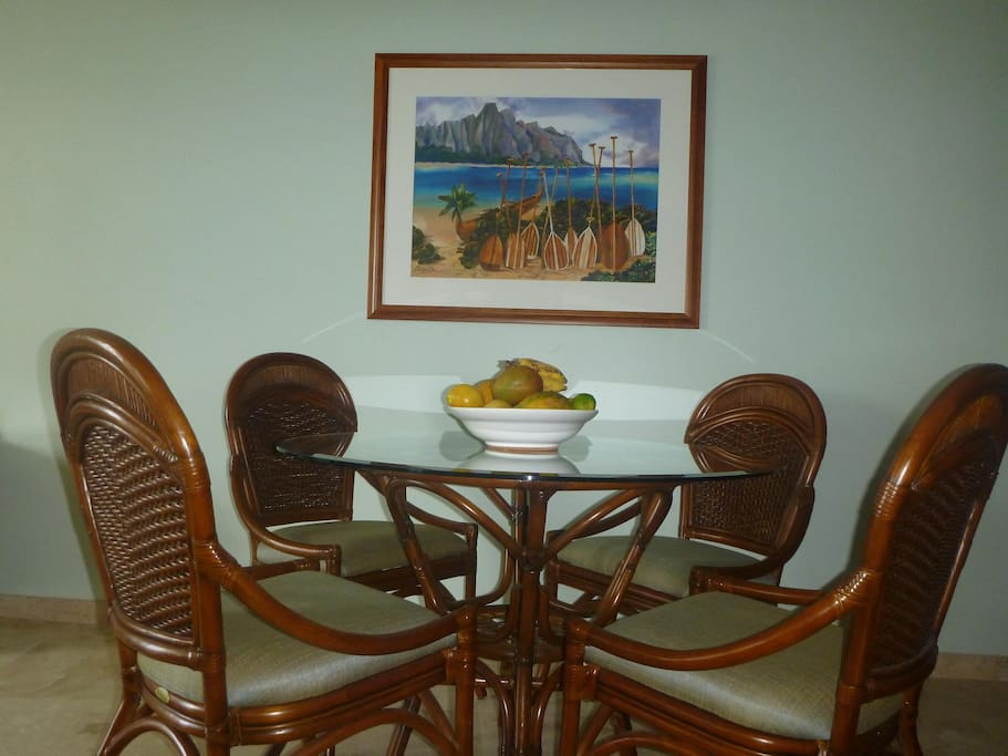 Our little dinning room, total of 6 chairs if needed.