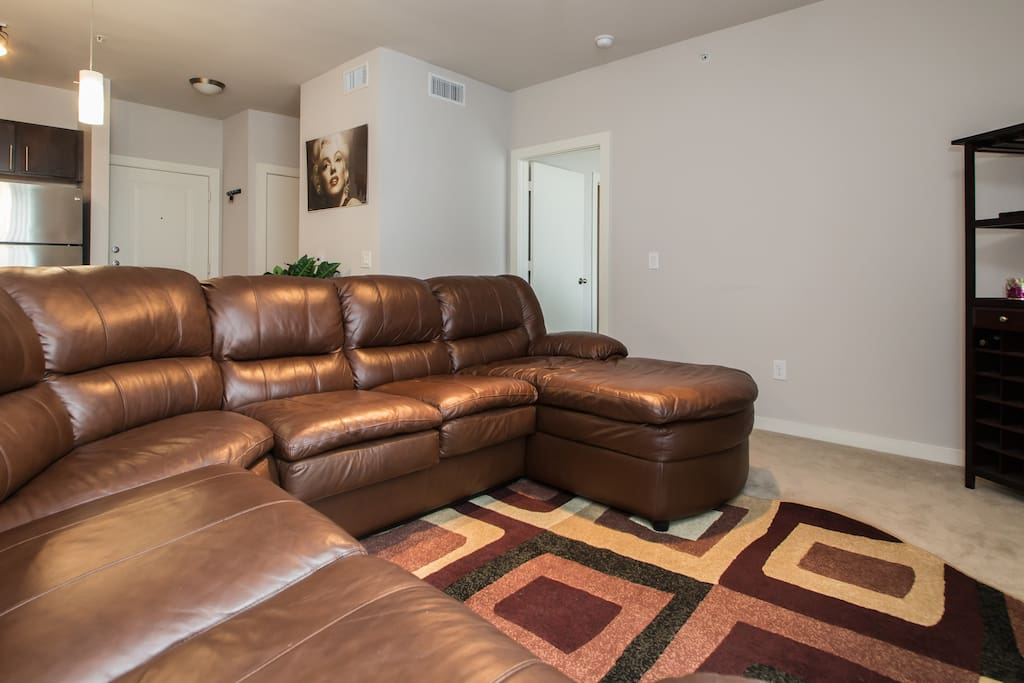 Large comfortable leather sectional.