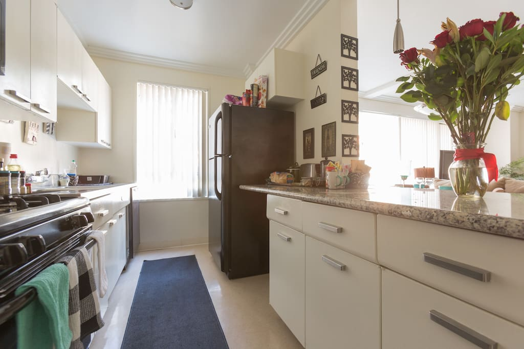 Large Spacious Kitchen .. Fully equiped (pots, pans, dishes, glass, cups, spices, etc)