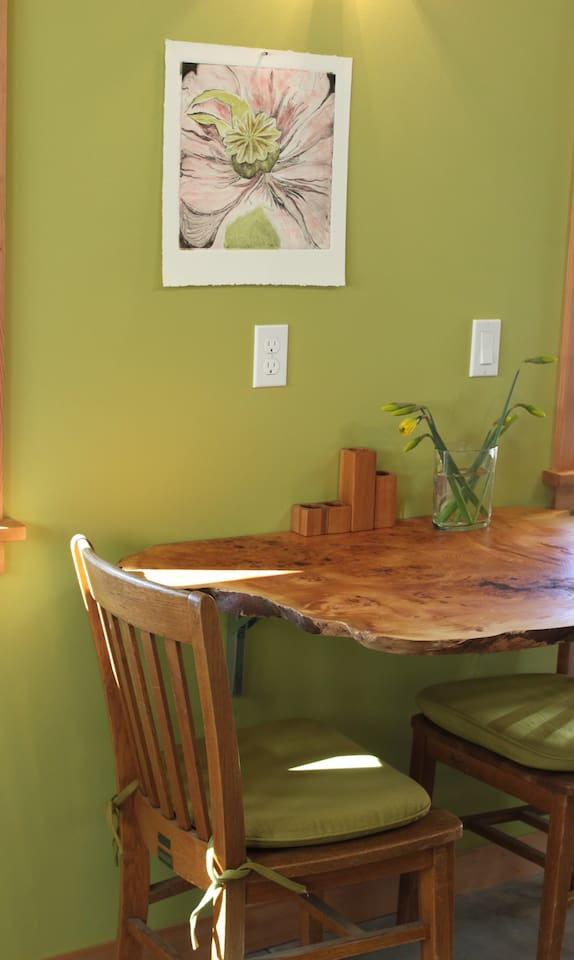 Lovely live-edge table for two.