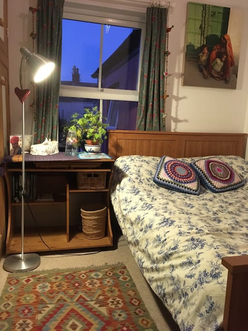 The bedroom for guests .. you ... full sized double bed makes the room seem small, please see other pics.
