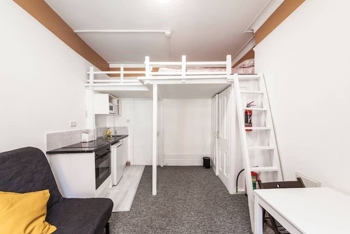 upper bunk bed, access by ladder