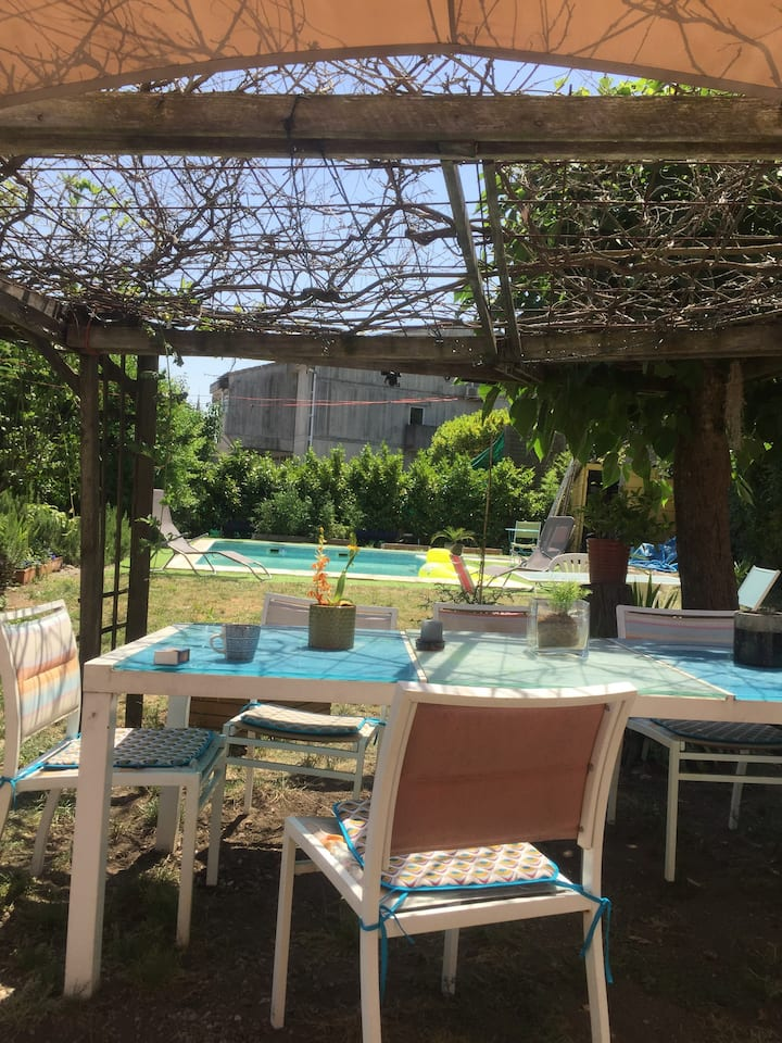 Chambres dans Grande maison avec piscine, jardin