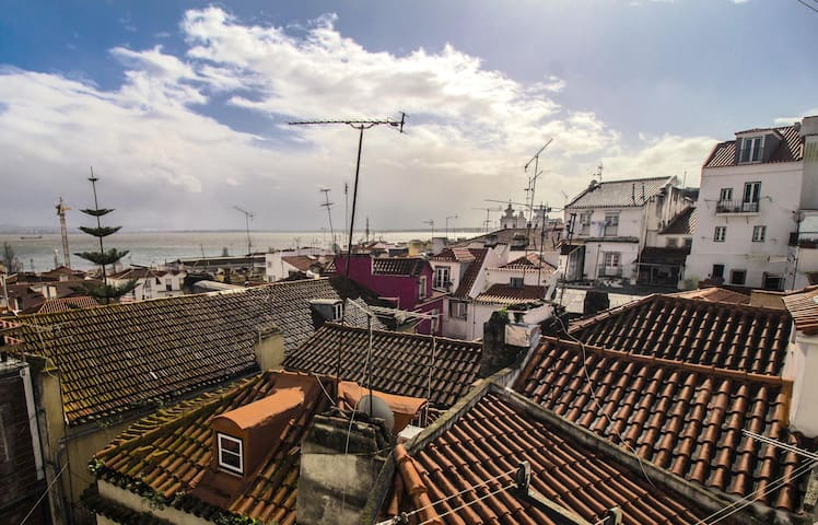 Rooftops of Lisbon as seen from the balcony