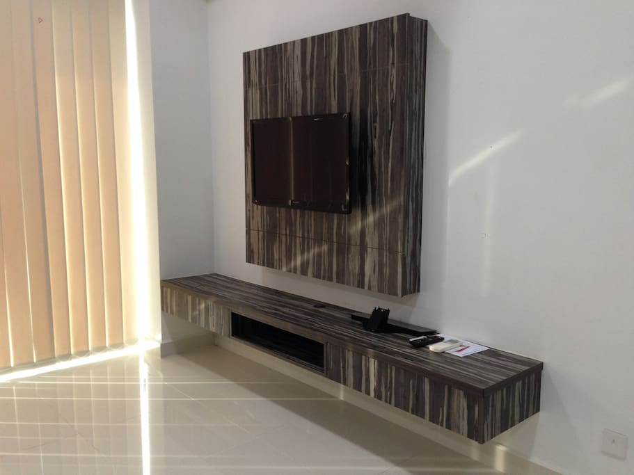 Flat screen TV with satellite TV channels