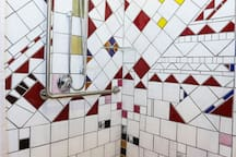 Funky tiling in wheel chair access toilet and shower