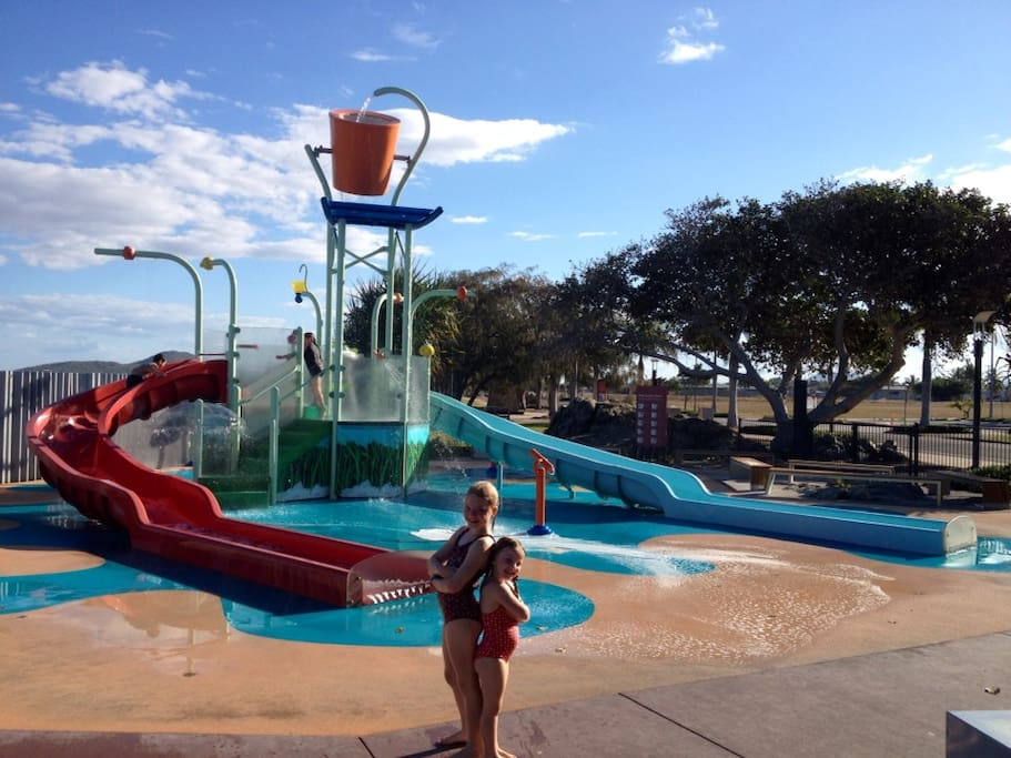 Children's water play area at the Front Beach.