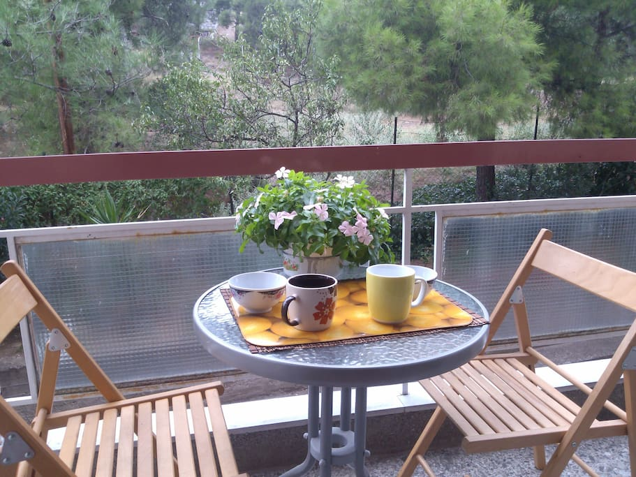 Relaxed breakfast lovely view