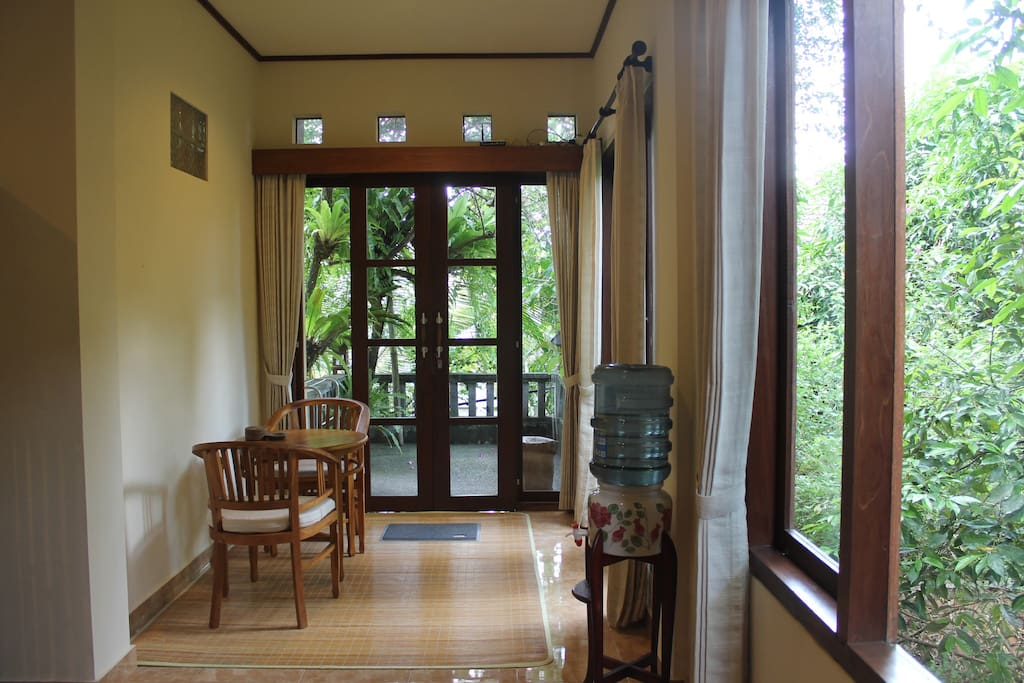 The sitting room leads onto the balcony