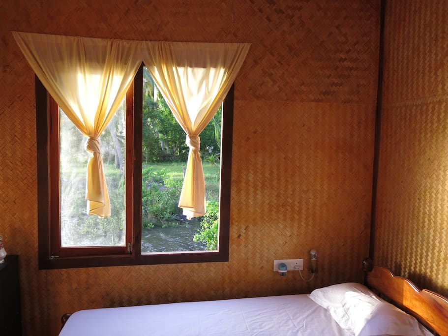 Interior of twin bed rooms. completely made of bamboo ply