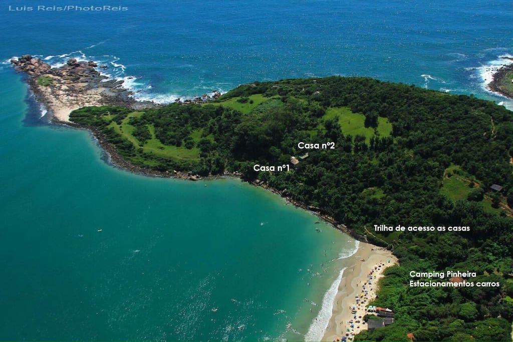 Foto área da localização das casas