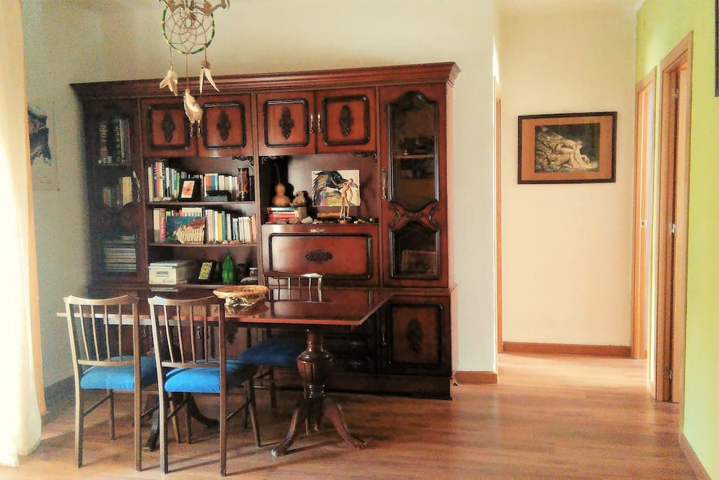 Living room; large dining table